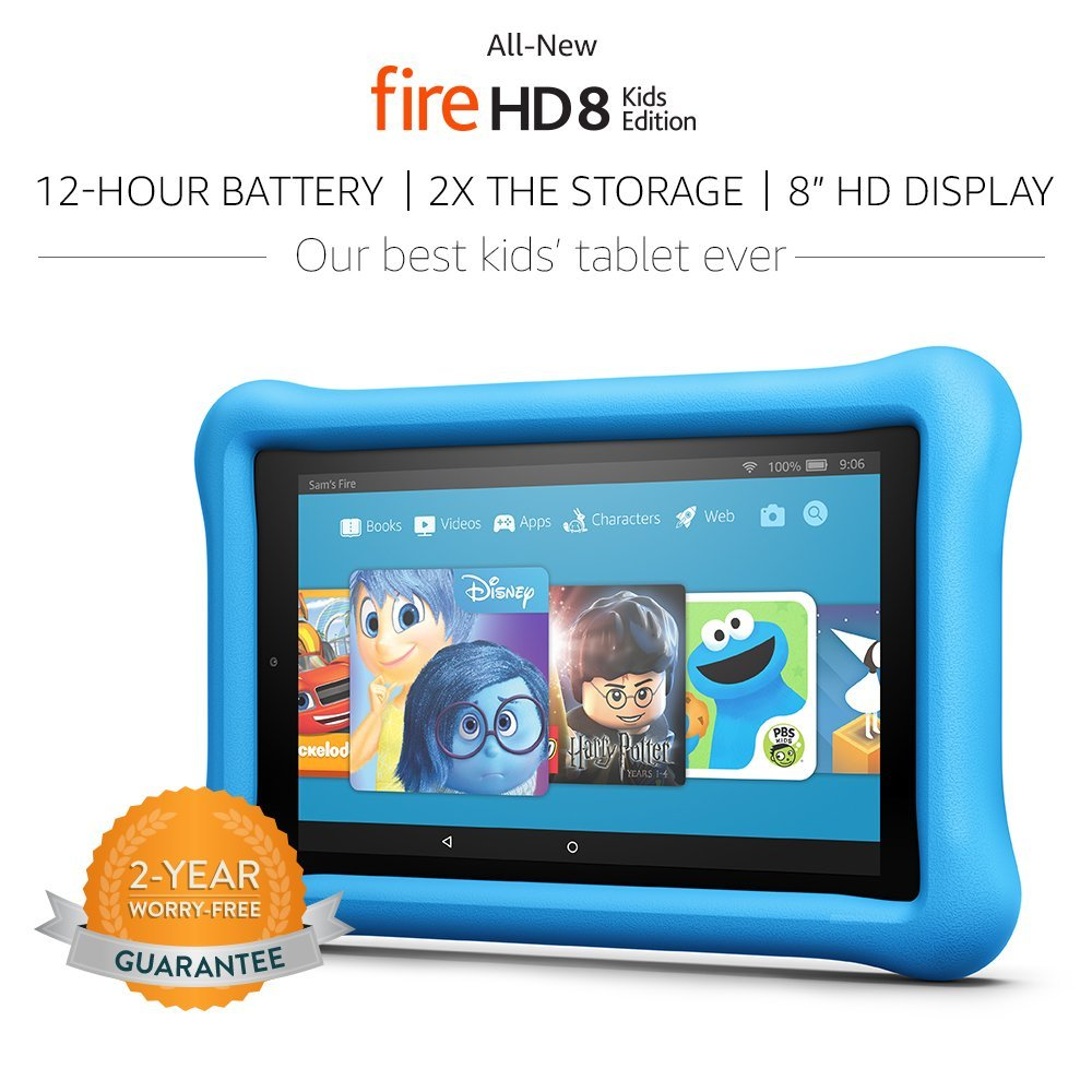 """Tablet All-New Fire HD 8 Kids Edition Tablet 8"""" HD Display, 32 GB, Blue Kid-Proof Case"""