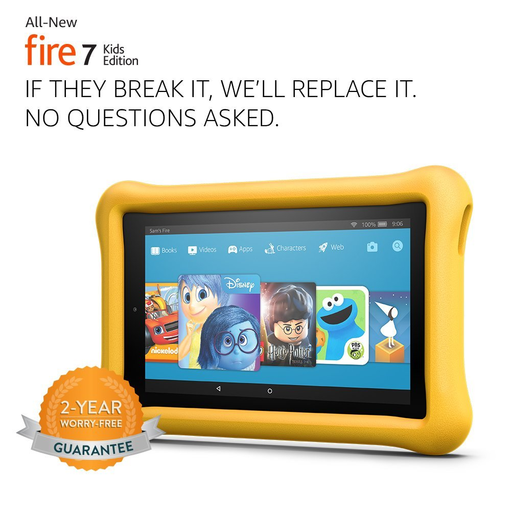 """Tablet All-New Fire 7 Kids Edition Tablet, 7"""" Display, 16 GB, Amarelo Kid-Proof Case"""