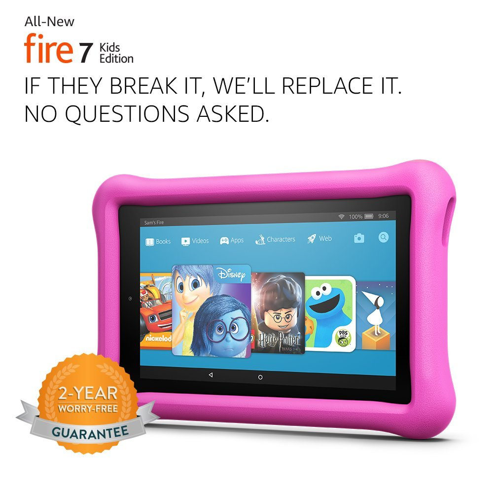 """Tablet All-New Fire 7 Kids Edition Tablet, 7"""" Display, 16 GB, Pink Kid-Proof Case"""