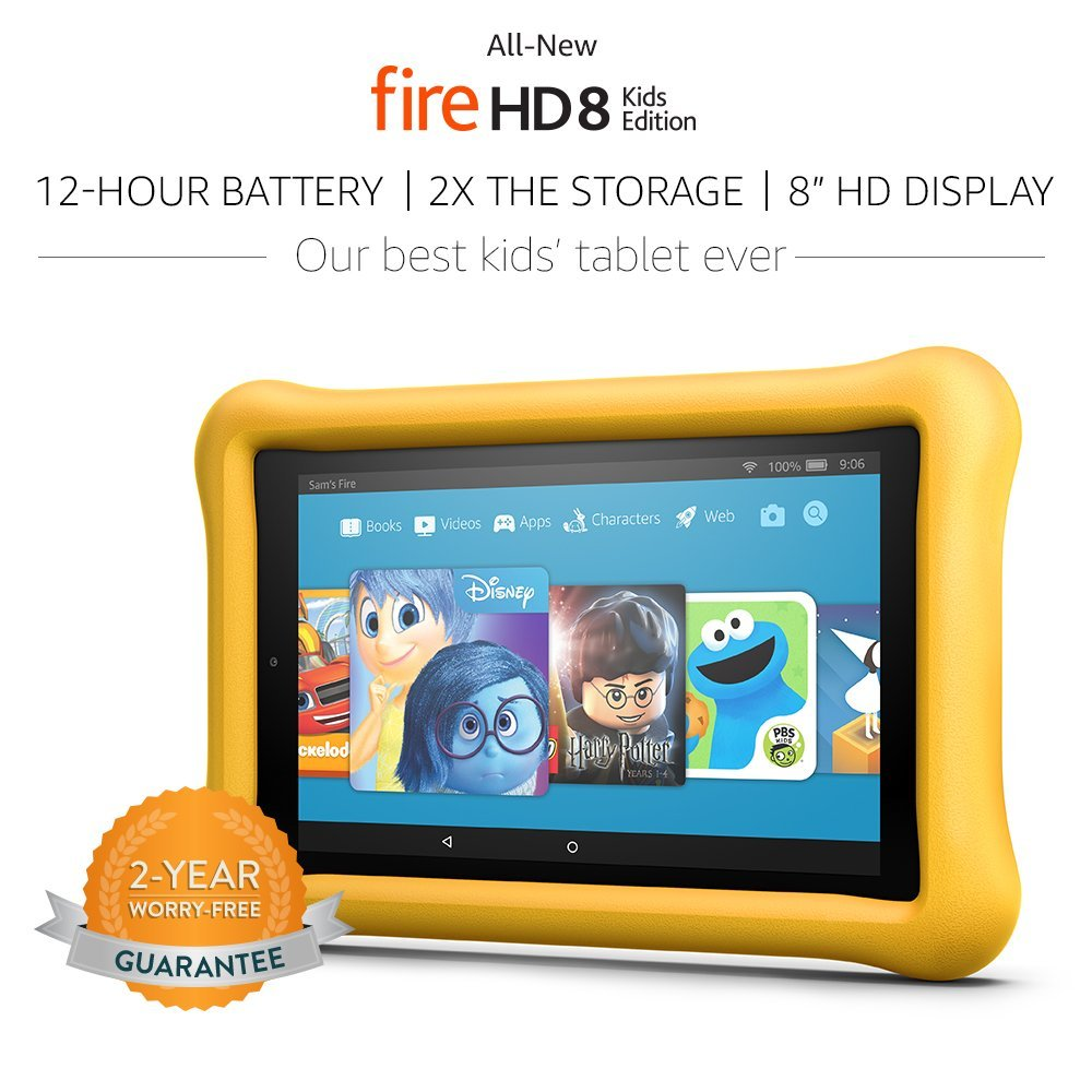 """Tablet All-New Fire HD 8 Kids Edition Tablet 8"""" HD Display, 32 GB, Amarelo Kid-Proof Case"""