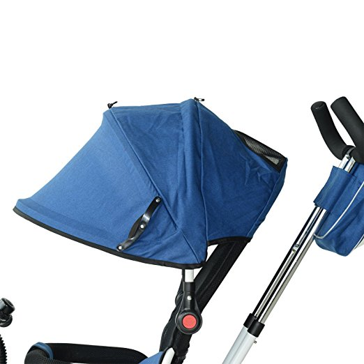 Carrinho de Beb? Triciclo Qaba 2-in-1 Lightweight Convertible Tricycle Baby Stroller - Blue